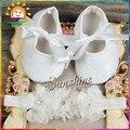 Цветок Горный Хрусталь/жемчужные Детская обувь Оголовье набор, Мягкие sapato де bebe, Крещение Крещение кружевные туфли для детей #2B1931 3 компл./лот