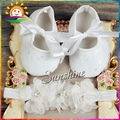 Flor Rhinestone/zapatos de Bebé de La Venda de la perla set, Suave sapato de bebe, Bautismo del Bautizo del cordón zapatos para niños #2B1931 3 set/lot
