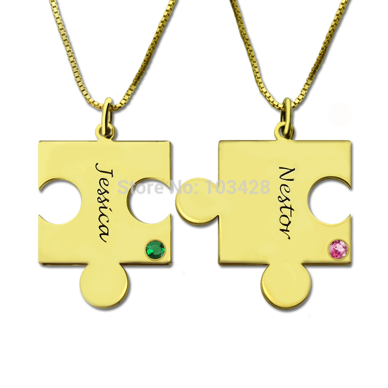 Personalized Puzzle Necklace Gold Color Names Birthstone Couples Necklace You're My Person Best Friend Necklace bosch my friend mix 20
