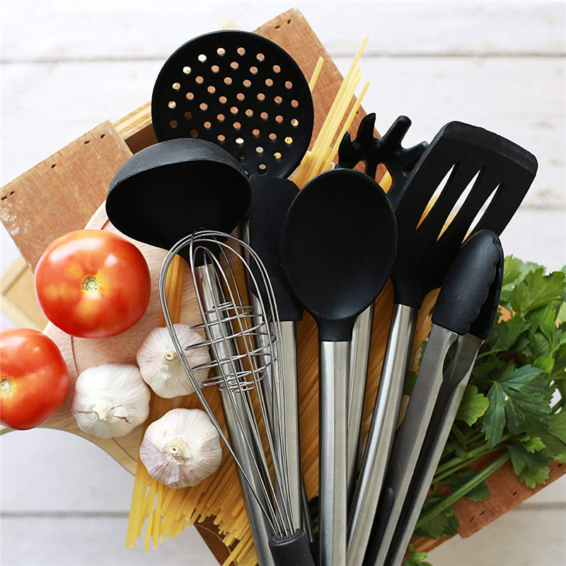 stainless steel cooking tool sets black silicone modern
