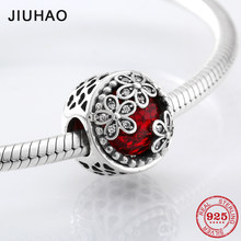 Fashion 925 Sterling Silver hollow heart three flowers Deep red CZ beads Fit Original Pandora Charm Bracelet Jewelry making(China)