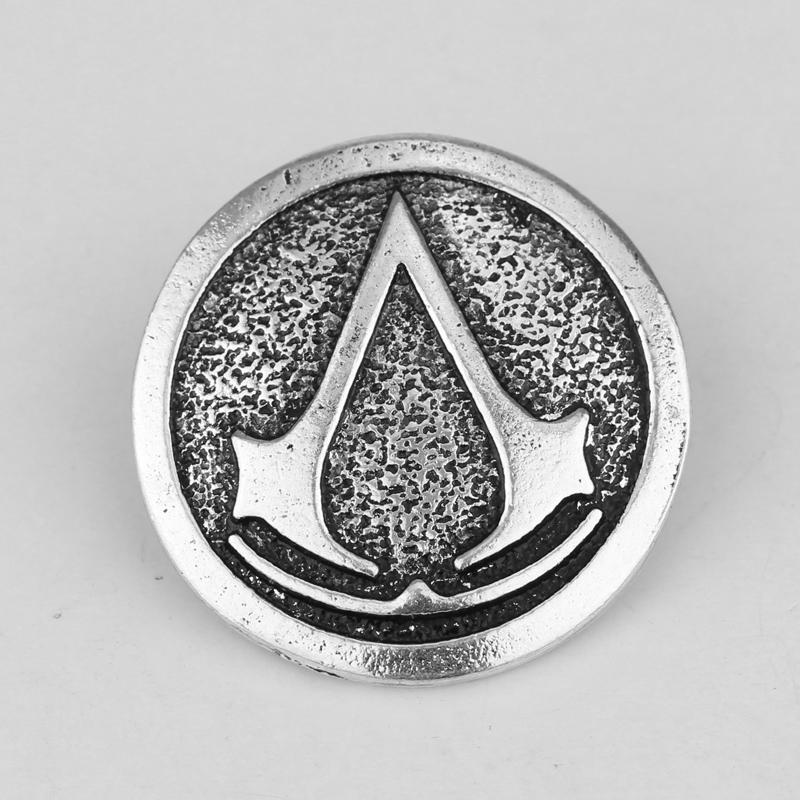 Encuentro directo Movie-Jewelry-Assassin-s-Creed-Badge-Pins-Broches-Lapel-Logo-Retro-Sliver-Plate-Brooch-Assassins-Creed