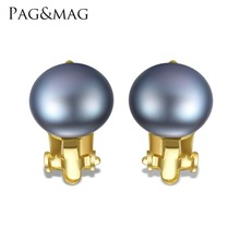 PAG&MAG Brand Sterling Silver Ear Clip No Need  Pierced Ears Freshwater Stud Ear Clip for Women 4 Color Choose 10-10.5mm Pearl