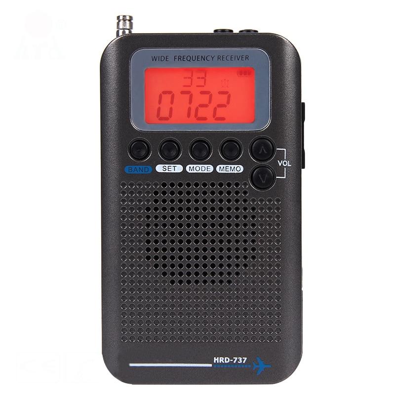 Radio numérique à bande complète HRD-737 démodulateur FM/AM/SW/CB/Air/VHF Radio stéréo Portable avec affichage LCD réveil
