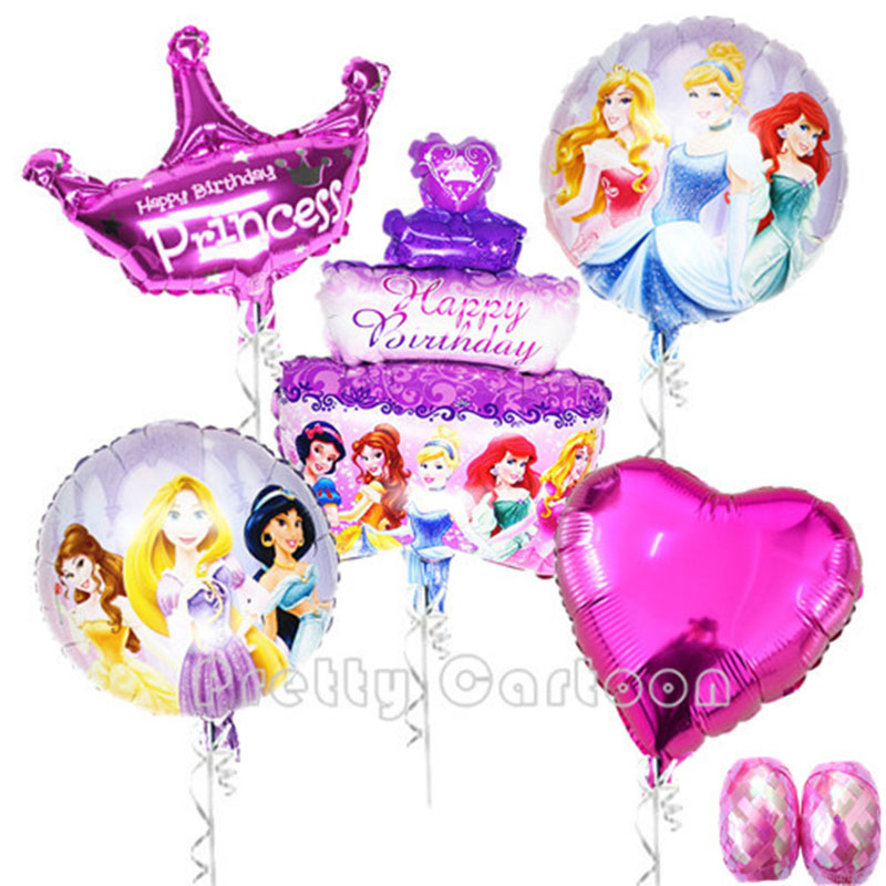 7pcslot Princess Balloon Princess Birthday Party Foil BalloonsEnBalloon Ribbon Inflatable Classic Toys kopen