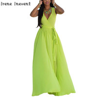 Irene Inevent Women Sexy Summer Solid V Neck Beach Boho Bohemian Long Maxi Dress Ukraine Vestidos