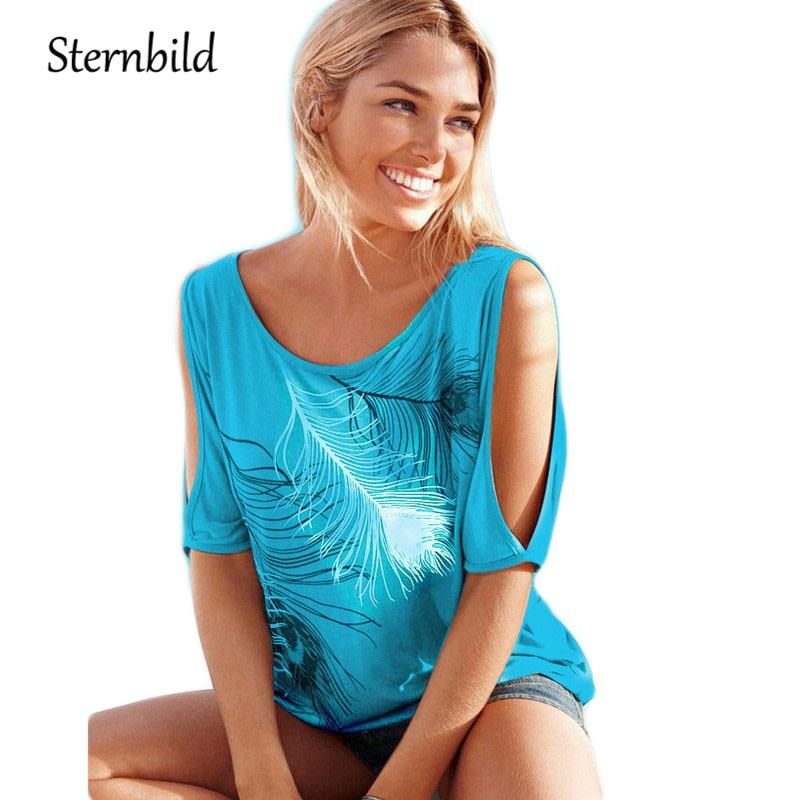 STERNBILD Plus Size European Feather Print T-shirt Women Curve Appeal Summer T shirt for Women Off Shoulder Tops Casual