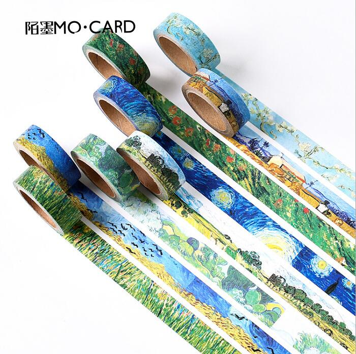 15MM*7CM The Collection of Van Gogh Painting Washi Tape Scotch DIY Scrapbooking Sticker Label Masking Craft Tape купить