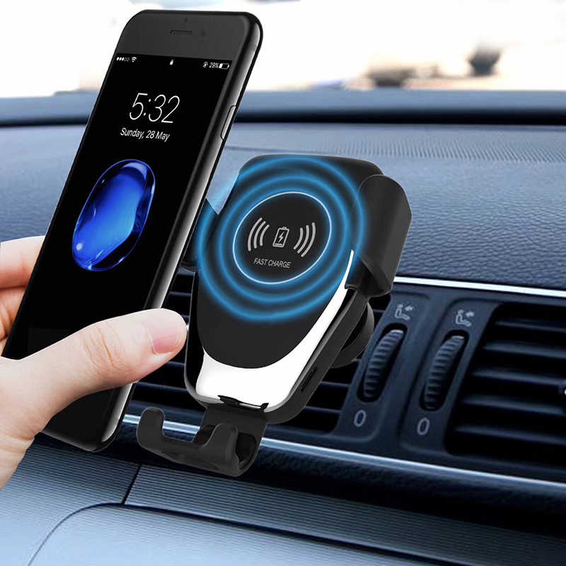 USB Cepat Qi Wireless Charger untuk Iphone Samsung Pengisian 360 Derajat Rotatable Mobil Udara Outlet Pemegang Ponsel Charger