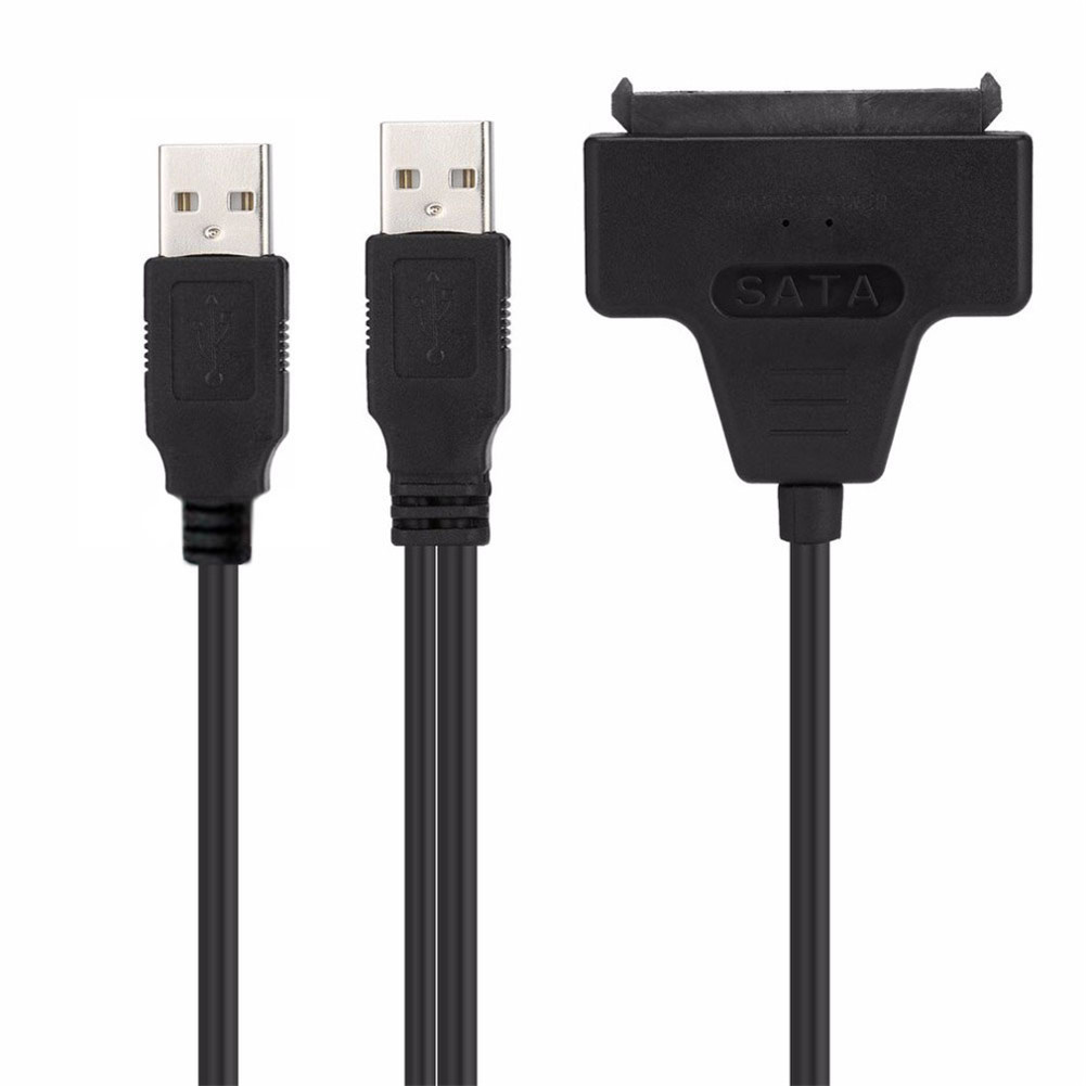 NEW SATA Cable Adapter USB 2.0 to SATA 22 Pin 7+15 2.5 Inches HDD Hard Disk Driver with USB Power Cable