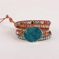Latest 2018 - 5X Leather Wrap Beaded Bracelet Huge OceanStone Bracelet, Boho Chic Jewelry, Bohemian Bracelet Valentine's Gift! 5