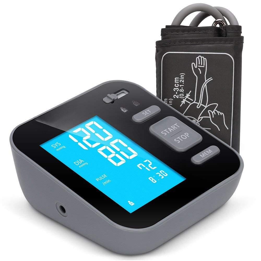 Cigii Upper Arm Blood Pressure Monitor Large LED Display Blue Light Health Care Home Digital BP Tonometer