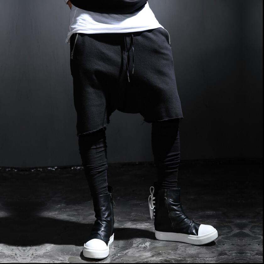 28 46 Personality alternative tide male spring fake two pieces of casual pants hair stylist low cut pants men plus size leggings