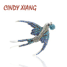 CINDY XIANG Colorful Rhinestone Swallow Brooches for Women Beautiful Vivid Bird Animal Brooch Pin 2 Colors Available Good Gift