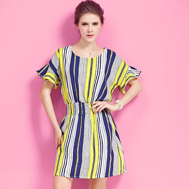 81140beec36 XL-XXXXL EU style 2015 Summer Womens Short Sleeve Slim large size Dresses  Casual Elegant