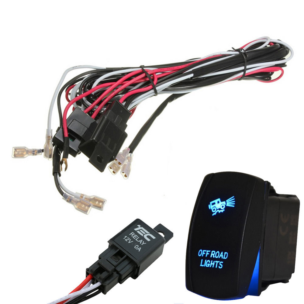 Wiring Harness Support Library Off Road Light Kit Ee 40a 300w Led Bar Laser Rocker Switch Fuse