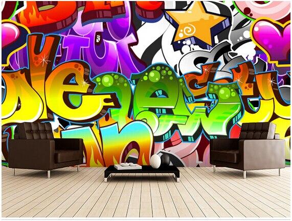 Custom 3D wallpaper, graffiti wall art for living room bedroom TV background wall waterproof papel de parede custom 3d large mural abstract digital painting colorful graffiti collage papel de parede living room tv wall bedroom wallpaper