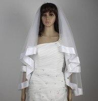 2 layer wide ribbon veil bride wedding vails fingertip length ivory/white veils &comb short veil 60x90cm