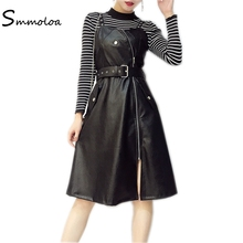 Smmoloa 2018 New Women 2 Piece Fashion Dress Women Dress Sets Knitted Top+Pu Leather Dress With Sashes