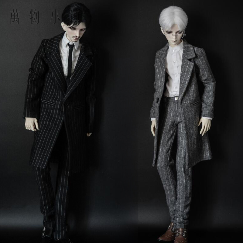 NEW Handsome Fashion Stripe Black/Gray Coat+Pants Uncle 1/3 1/4 Boy SD10 girl BJD Doll SD MSD Clothes fashion bjd doll retro black linen pants for bjd 1 4 1 3 sd17 uncle ssdf popo68 doll clothes cmb67