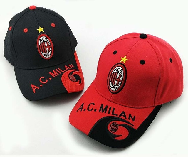 23 teams can choose for AC Milan caps soccer Red Black football badge caps Adjustable Cotton Shower caps hat
