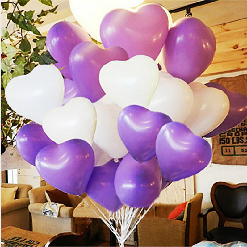 Heart Balloon 50pcs 100 Latex Balloons 12 20g Purple And White