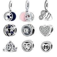Fit Pandora Charm Bracelet Original 925 Silver Charms Bead Daisy Openwork Charm With Clear Zircon Jewelry