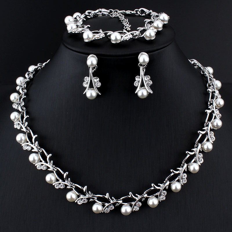 Weibang Pearl Jewelry Sets For Women African Beads Jewelry Set Wedding Imitation Crystal Bridal Dubai Necklace Jewelery Costume