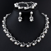 Pearl Jewelry Sets For Women African Beads Jewelry Set Wedding Imitation Crystal Bridal Dubai Necklace Jewelery Costume Jewelry & Watches