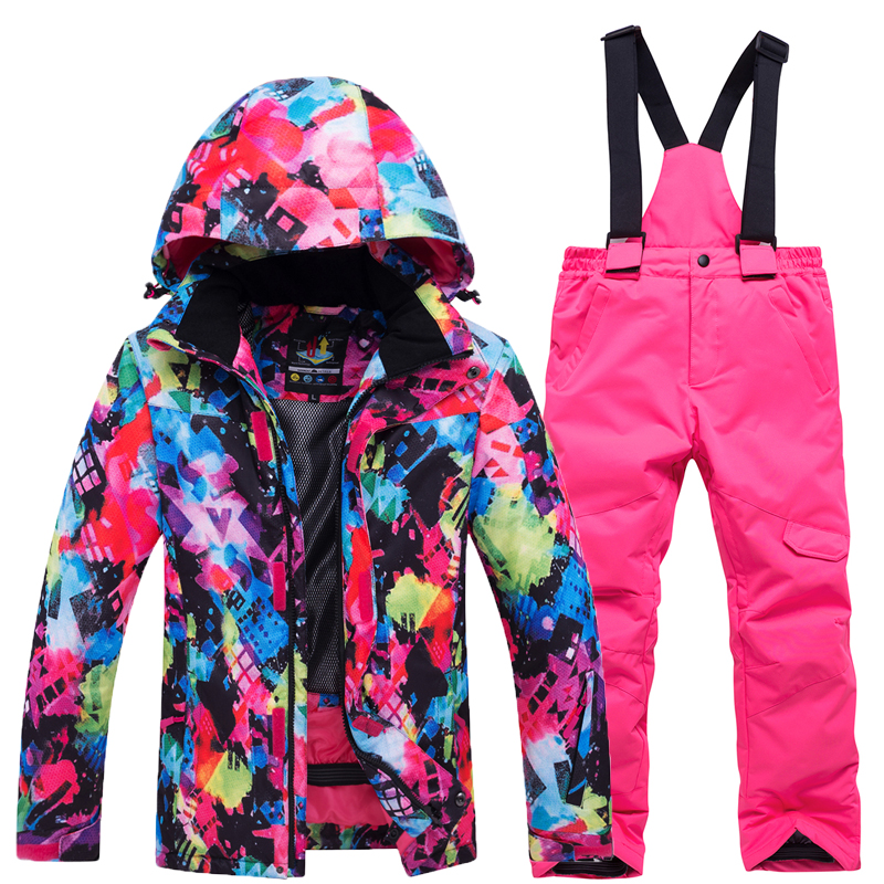 2018 Waterproof Index 15000mm Warm Coat Ski Suit Windproof Boys Jackets Kids Clothes Sets Children Outerwear For 3-16 Years Old boys outerwear warm coat sporty ski suit kids clothes sets waterproof windproof boys jackets coat for 30 degree