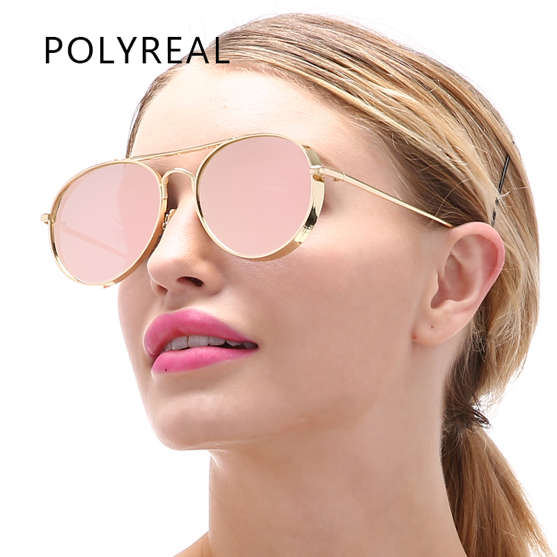 POLYREAL Unisex Oversized Metal Frame Pilot Sunglasses Women Brand Designer Avation Mirror Sun Glasses For Men Driving UV400 ...