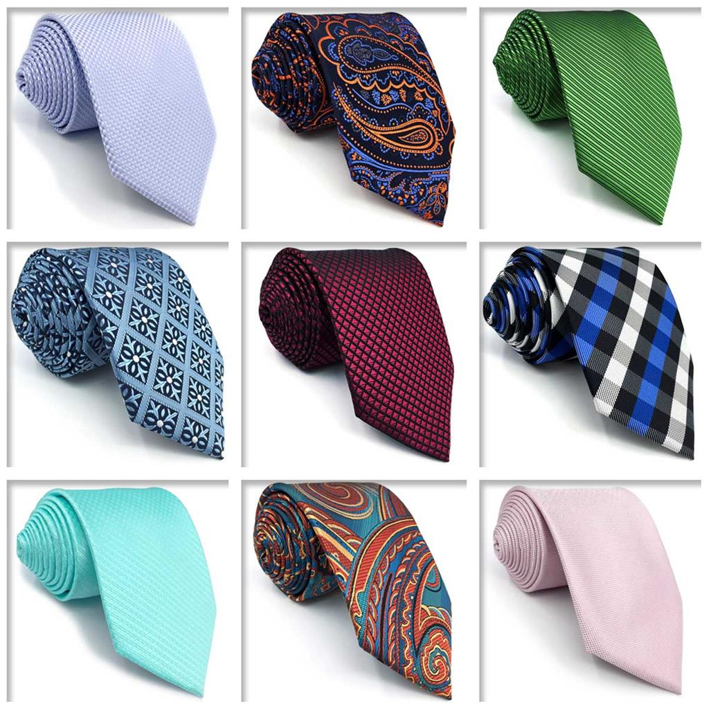 Checkes Paisley Solid Neckties for Men Slim Wedding Fashion Skinny Tie Party For Suit Jacket
