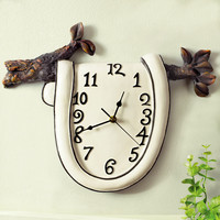 handmade creative resin vintage wall hanging clock for modern home decorations ornaments
