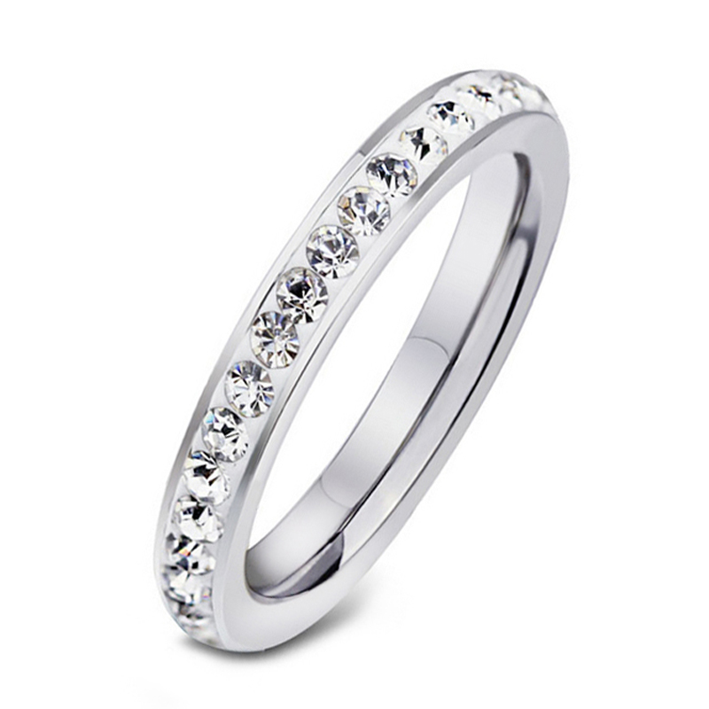 2017 Never Fade Clay Material Crystal Ring Row Stainless Steel Couple Promise Marry Gifts Brand Fashion Jewelry Ring 83721 2019 New Fashion Style Online Wedding & Engagement Jewelry Engagement Rings
