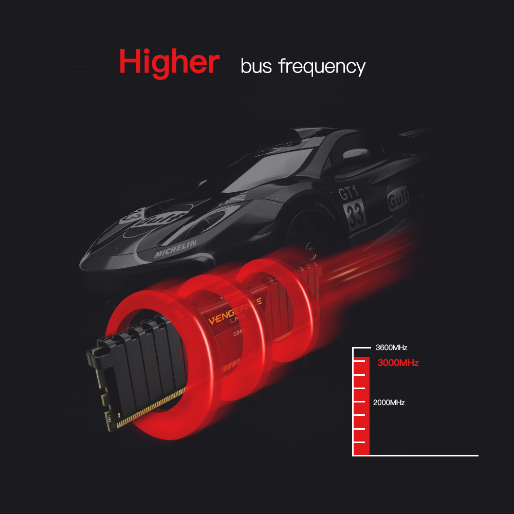 CORSAIR Vengeance LPX 8GB 16GB DDR4 PC4 2400Mhz 3000Mhz 3200Mhz Module 2400 3000 PC Cmputer ram de bureau mémoire 16GB 32GB DIMM - 5