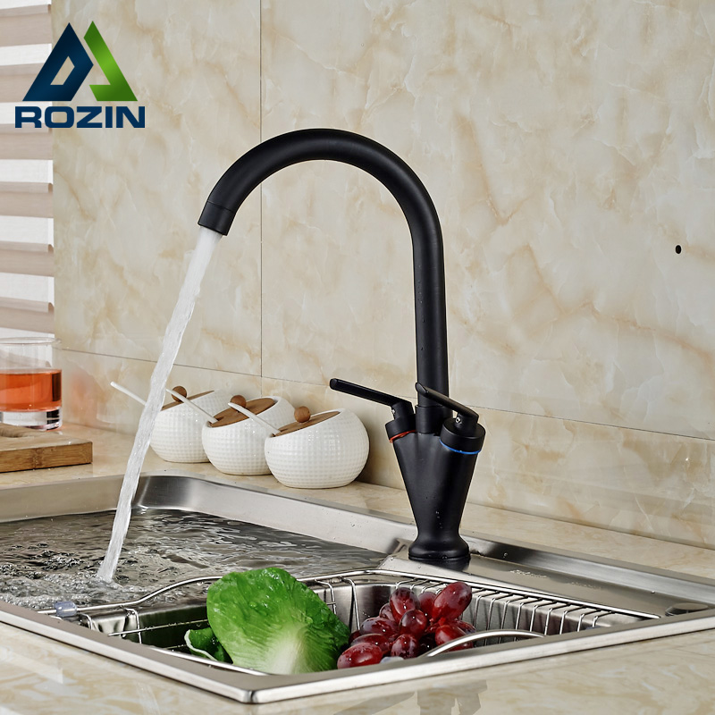 ФОТО ORB Bronze Kitchen Mixer Faucet Deck Mount Dual Handle Kitchen Mixer Taps with Hot Cold Water One Hole