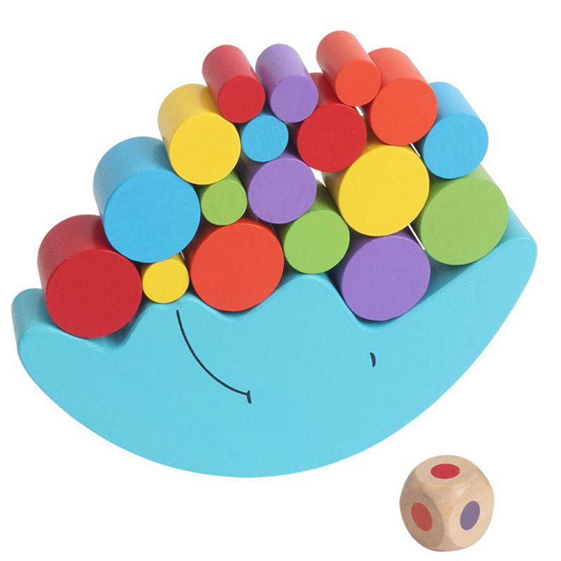 Wooden Toy Moon Balance Beam Game Wooden Building Blocks Children Educational Toys Colorful Stack Tower Baby Montessori Toys New