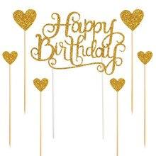 Omilut 7pcs Gold Glitter Happy Birthday Cake Decoration Love Heart Cake topper Wedding