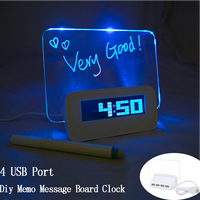 CNIKESIN Multi Function DIY Memo Message Board Scribble Alarm Clock Calendar 4 Port USB Hub Memo