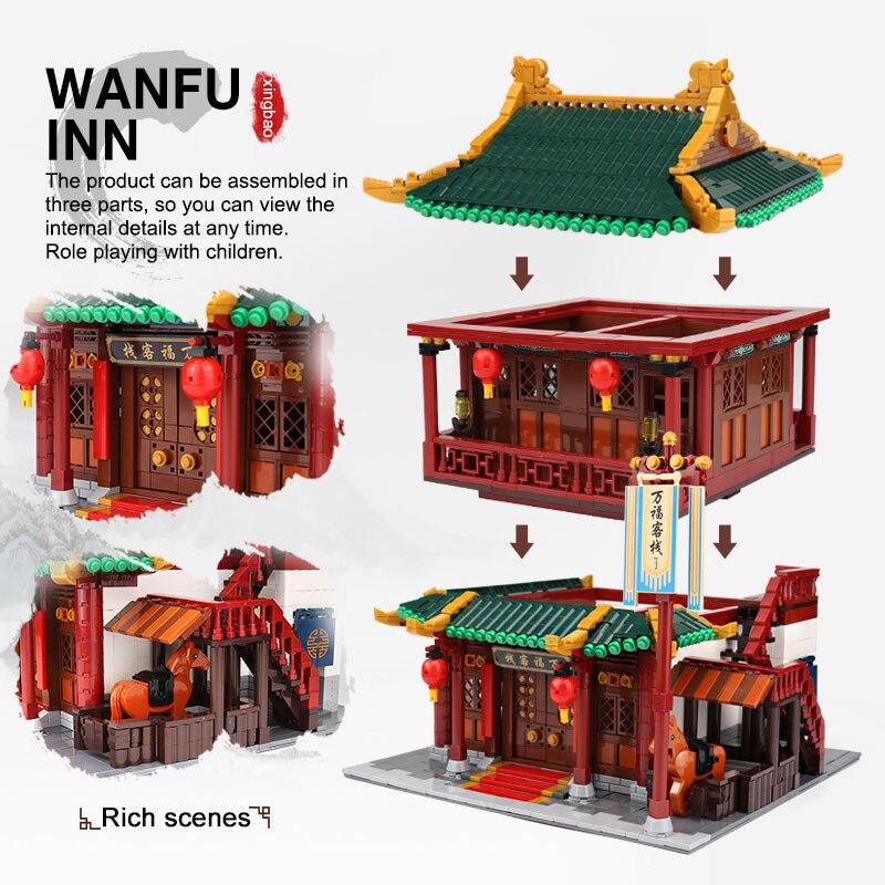 XINGBAO 01022 3046 Pcs Creatore della Serie Cinese Famosa Architettura Blocchi Il Wanfu Inn Set Blocchi di Costruzione MOC Mattoni Modello di Casa - 6