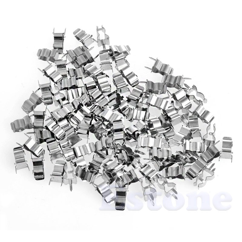 OOTDTY J34 100Pcs 5*20mm Fuse Holder Clips Glass Quick Fast Blow Fuses Welding Holder