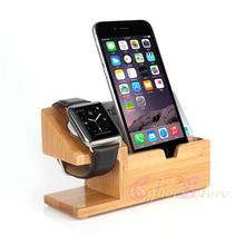 For Apple Watch iwatch iPhone Bamboo Charging Station Stand Dock Bucket Wood Phone Holder For iPhone 6 6 Plus 5S Cell phone