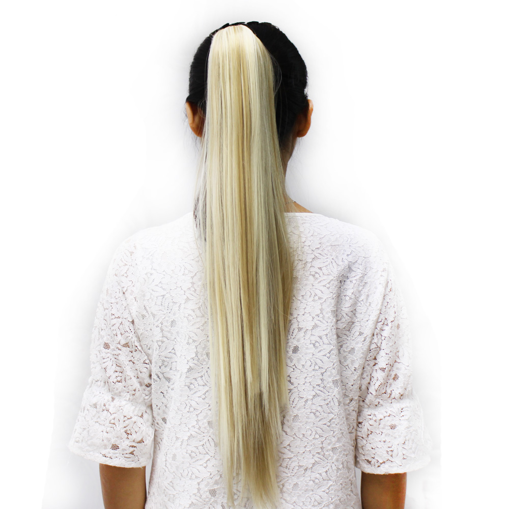 Delice 22inch Women's Straight Blonde Hästsvans High Temperature - Syntetiskt hår - Foto 6