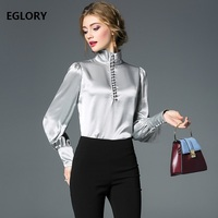 Best Quality Tops New 2018 Autumn Winter Tops Women Turtleneck Tunic Buttons Long Sleeve Solid Shirt Female Grey Purple Blouse