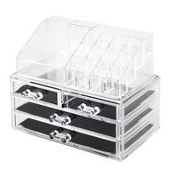 Transparent Acrylic Makeup Storage Shelf Cosmetics Brush Eyeshadow Pencil Lipstick Display Storage Rack with 4 Drawers