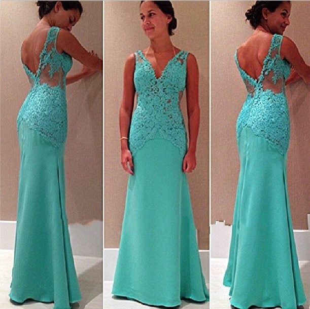 2019 New Fashion Sexy Sleeveless V Neck Lace Appliques Mint Green   Prom     Dresses   Long Fast Shipping Evening   Dresses   HU0010