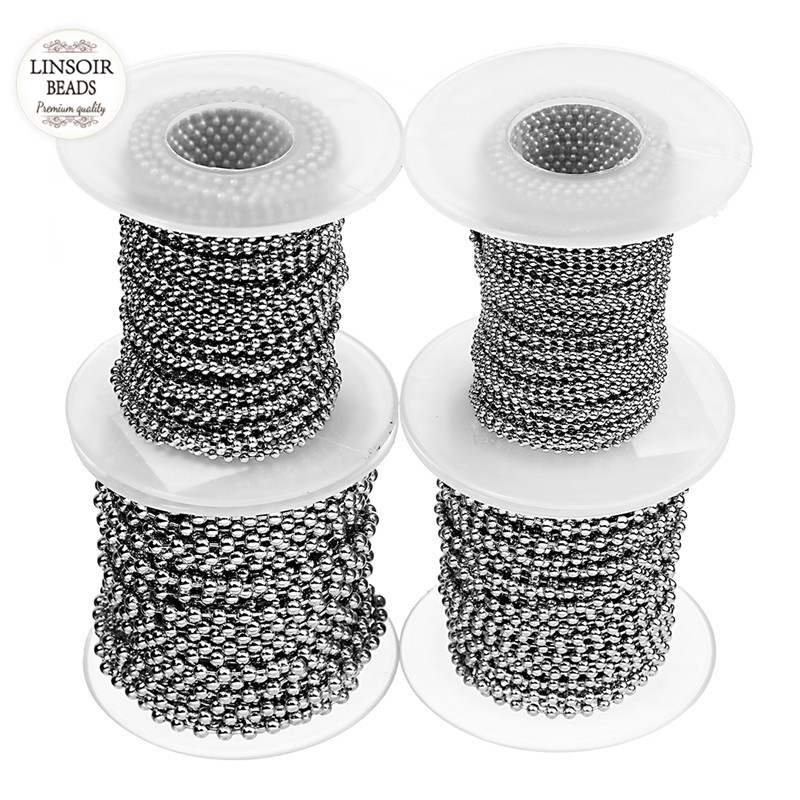 10Yards/Roll Dia 1.5mm 2mm 2.4mm 3mm Beaded Ball Chain Bulk Stainless Steel Jewelry Chains for Necklaces Making Supplies