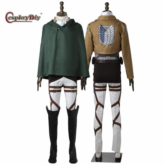 CosplayDiy Attack On Titan Rivaille Ackerman Levi Eren Cosplay Costume For  Halloween Carnival Ful set Custom