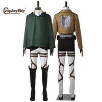 CosplayDiy Attack On Titan Rivaille Ackerman Levi Eren Cosplay Costume For Halloween Carnival Ful set Custom Made