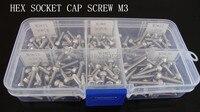 180pcs M3 6 8 10 12 16 20 Stainless Steel Hex Socket Head Cap Screw M3